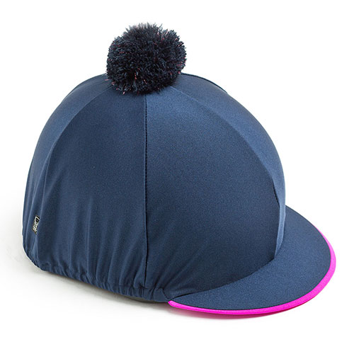 Carrots Plain Navy Hat Cover (Personalised) Navy & Pink Trim